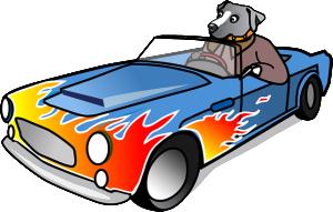 dog driving cartoon